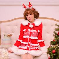 Princess sweet lolita coat Candy rain original winter warm Cute Japanese style Christmas new year wool cotton-padded Coat  CR04