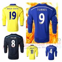 Free shipping Chelsea long sleeve jersey 2014 2015 home FABREGAS OSCAR HAZARD TORRES DIEGO COSTA soccer jerseys blue 14 15 full