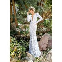 White Lace Wedding Dresses vestido de noiva 2015 Fashion V-Neck Court Train Wedding Dress Elegant Crystal Ball Gown