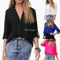 Womens Tops Fashion Sexy Women V-Neck Casual Chiffon Blouse Shirts Women Plus Size 4 Colours A1 Dx131