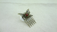 Lovely brass butterfly flower red beaded comb hair accessory