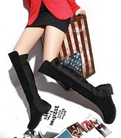 British style long over-the-knee high-leg female boots thick heel round toe elastic stovepipe boots platform spring and autumn