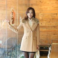 2014 autumn winter woolen coat womens overcoat new OL Slim double-breasted wool coat fur collar coat Women