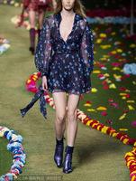 Free Shipping spring 2015 Charming Stars Printed Silk Dress 141215XB03