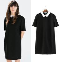 2015 new European style Ladies' Elegant brief office lady zipper Vintage turn down collar short sleeve casual slim dress,WD0557