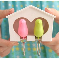 New Lover Sparrow Birdhouse Keychain Home Wall Hook Bird Nest Holder Key Ring # ZH175