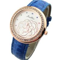 Hot sale Fashion Camellia Crystal Wristwatches with PU Leather Women Dress Fashion Quartz watch