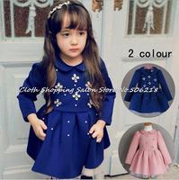 retail one piece autumn winter girls dress pearl crystal flower velvet thickened long sleeve warm princess dress