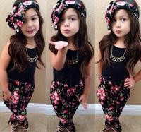 2015 New Summer Girls Clothing Sets Children Fashion Floral Print Harem Pants+Vest +Headband 3pcs/set Kids Baby Clothes Sets