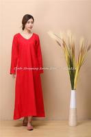 2014 new autumn winter women's National Retro cotton linen dress V Neck Long Sleeve One piece vintage loose dress