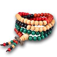 Buddha beadsWood woven red sandalwood women bracelet religion Jewelry bowknot  Layering