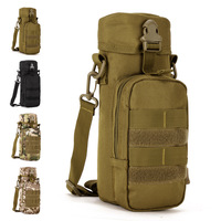 Tactical outdoor shoulder bag small 750ml bottle bag Camouflage vertical sport messenger bag