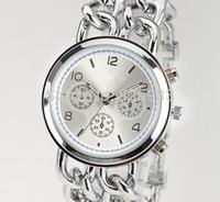 Brand New Quartz Watch Luxurious Women Dress watch Men wristwatch Stainless Steel Dual chain bracelet Watch Rose Gold Silver