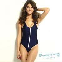 Woman Dark Blue Siamese Swimsuit Bikini Chest Zipper Gather Swimsuit Female Was Thin Swimsuit Free Shipping