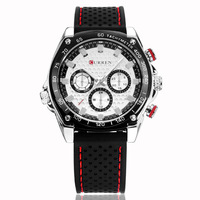 Fashion New Men Luxury Causal Watches Rubber Strap Water Resistant Sport Wristwatches Free Shipping
