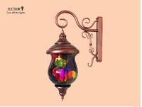 7 colour hand-painted glass color bar Light Chinese style restoring ancient ways of bedroom the head of a bed wall lamp
