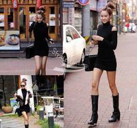 Women's Long Sleeve Sexy Cotton Casual Off Shoulder Dress M ,L Black Dark Gray 3545