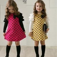 Free shipping children clothing girls polka dot dress long-sleeve kids girls princess dress