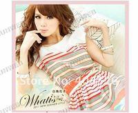 2014 summer New Colorful Stripes Chiffon Dress Free Bowknot Belt Women's Dresses free shipping