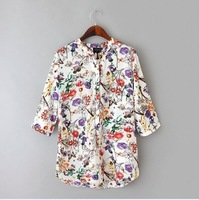2015 new fashion Europe women spring & summer fashion flower printed blouse Lady casual V-neck 3/4 sleeve chiffon shirt#J492