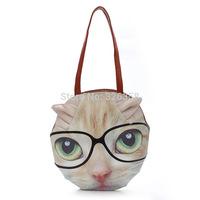 2015 New Fashion Women Cute Cat  Dog Shoulder Bags/Women Cartoon Handbag/Animal Print Leather Bag