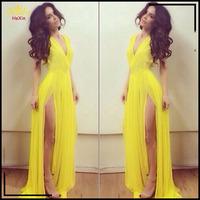 2014 Women New Arrival Vintage Goddess Sleeveless Vestido longo Solid yellow V-Neck Side Open Dresses Elegant Evening Dress 9198