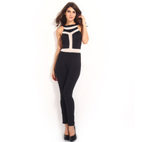 2014 New European Style Slim Jumpsuits Fashoin Network yarn Sexy Jumpsuit,SB410