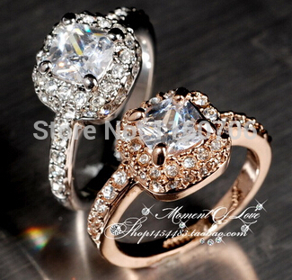 2015 Gold Statement Jewelry Classic Engagement Ring With Austrain Crystals Rings Love Wedding Rings Jewelry(China (Mainland))
