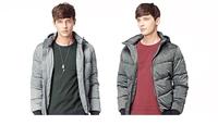 Men's wear thick warm winter coats detachable cap down jacket male leisure slim coat