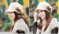 Ms han edition fashion rabbit fur hats, autumn and winter heat preservation cap, beret
