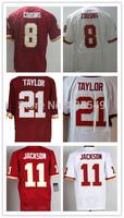 Cheap Washington 8 Kirk Cousins,11 DeSean Jackson,21 Sean Taylor Men's Elite Football Jerseys Red White Embroidery Logos