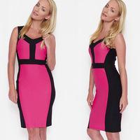 High quality women brand sleevelss V neck casual dress women brief midi pencil dress