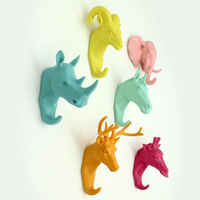 resin animal head crafts robe hooks wall decoration