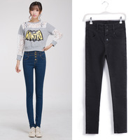 2015 free shipping 982 buttons high waist jeans pencil  skinny pants trousers