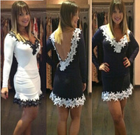 Hot selling American style sexy women deep V neck backless lace stitching bodycon dress long sleeve lace hem party dress