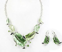 Top Quality Leaves Fashion jewelry set Women's Party gift Chain Necklace and earrings set Gifts A016