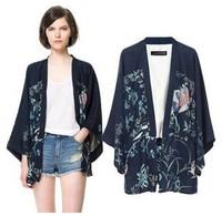 spring womens blouse chiffon kimono cardigan birds & Floral print shirts ladies tops/mujer ropa camisas femininas blusas de gasa