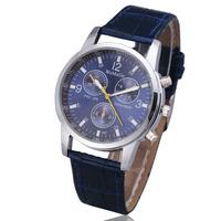 2015 new fashion stylish womage cool men women Pu leather clock classic gift ladies retro wrist quartz watch sub-dial decoration