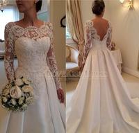 2015 France Lace Long Sleeve Wedding Dress Backless A Line Satin Noble Bridal Gown For Wedding Event Dress Vestidos De Novia
