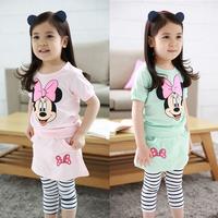 2015 Summer New Children Girls 2PC Sets Cartoon baby Clothing sets girls clothes set T-shirt+stripe leggings