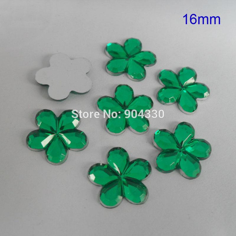 Livraison gratuite! 500 pcs vert 16 MM fleur Flatback strass Acylic diamant Scrapbooking bijoux bricolage(China (Mainland))