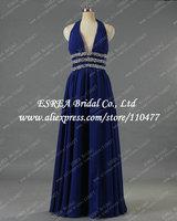 Deep V Neck Chiffon Backless Sexy Long Evening Dress Royal Blue with Crystal Belt T1358 Vestido de Festa Longo