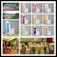 200pcs wedding party hotel chair back flower bow satin chair back yarn decorative ribbon flower