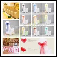 50pcs wedding party hotel chair back flower bow satin chair back yarn decorative ribbon flower wedding decorations