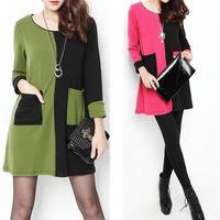 Women Winter Dress 2015 New Fashion Patchwork Casual Dress Long Sleeve Plus Size Loose Autumn Dresses 2XL Vestidos SY2752