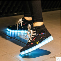 2014 luminous white retro heavy-bottomed shoes 7 colors LED shoes men women high quality leather USB light martens shoes