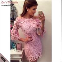 New Women Summer Lace Dress Fashion Bodycon Causal Dress Slash-neck Floral Vestidos Evening Party Dresses Pink Vestido De Renda