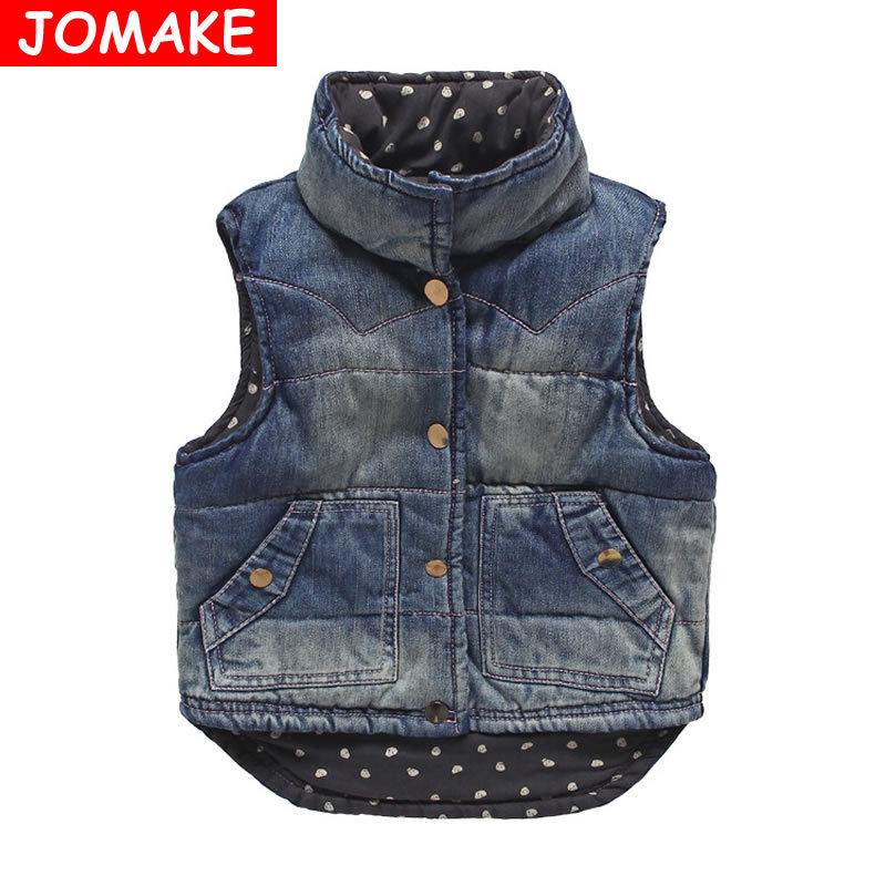 Fashion Girls/Boys Denim Vest Baby Children's Jeans Waistcoat Clothes Sleeveless Kids Autumn/Winter Brand Dot Lined Jacket Coats(China (Mainland))