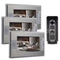 3 Monitor 1 Camera 7 inch Color Video Door Phone Intercom Doorbell Home Security System Waterproof IR Night Vision Camera Kit