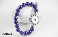 10pcs/lot Newest high quality imitation blue pearl beaded snap bracelet with rhinestone NACB039